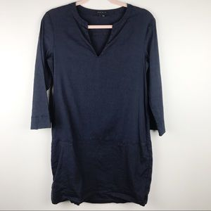 Theory Helda Dress Linen Blend Navy Sz 4